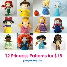 12 princesas Amigurumi muñeca ganchillo patrones por JanaGeek