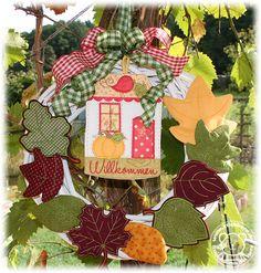 Der Stickbär   Blättertanz   Stickmuster mit Herz