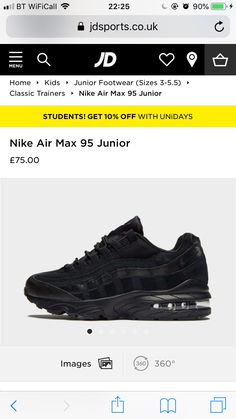 buy online c03a8 29f7f Air Max 95, Nike Air Max, Black Nikes, All Black Sneakers