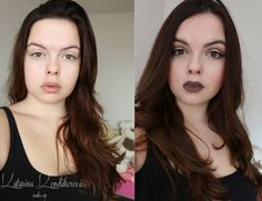 Before & After. Natural makeup and Stone lipliner by MAC
