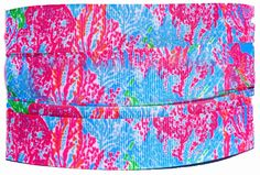"""Amazon.com: Custom & Fancy {.9"""" Inch Width - 3 YDS} 1 Pack of Wide """"Grosgrain"""" Ribbon for Hairbows, Decorations & Gift Wrap Made of Polyester & Nylon W/ Calming Floral Design [ Pink, Blue, & Green Color]"""