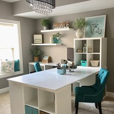 """25 Likes, 5 Comments - Bulldogs And Decor (@duke_and_lulu) on Instagram: """"Newest room makeover: office/creative space. Love the colors...and that light ."""" Small Office Design, Desk In Living Room, Home Office Desks, Office Decor, Living Room Designs, Decorating Your Home, Corner Desk, Home Improvement, Home Improvement Projects"""
