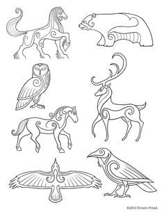 pictish animals. Add more details, and color, possible tattoo ideas (mainly the first horse turned into a centaur)
