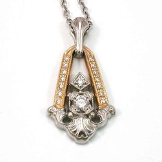 Diamond Art Nouveau Pendant - Platinum and Gold - Handmade. $2,950.00, via Etsy.