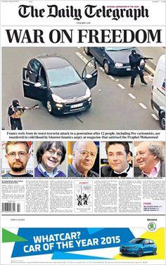 War on freedom. Portada de Daily Telegraph (Reino Unido) el día después del ataque a Charlie Hebdo.