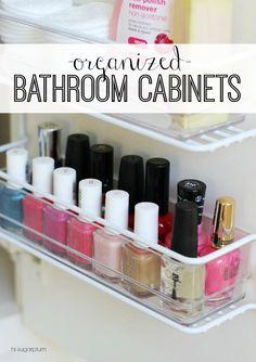 Hi Sugarplum   Organized Bathroom Cabinets
