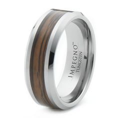 Discount Price: $180.00 -  Tungsten Ring With Wood Inlay Polished Finish