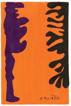Henri Matisse, Arabesques noires et violettes sur un fond orange, 1947.