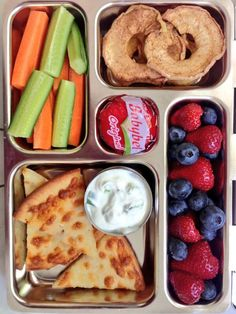 Cheese Pizza with Cucumber Yogurt Dip, strawberries, blueberries, apple rings, cheese, carrot and cucumber sticks