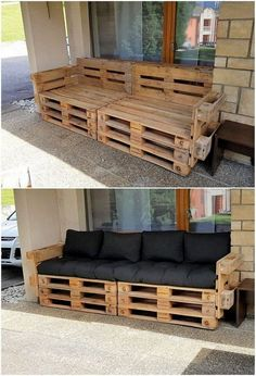 What Can You Make with Wood Pallets? Easy Projects You will probably be finding this creation of wood pallet so eye-catching and peacefully attractive looking. Well, this creation is dedicatedly designed in the artistic. Wood Pallet Couch, Wood Pallet Furniture, Wood Pallets, Diy Furniture Plans, Rustic Furniture, Furniture Layout, Pallet Furniture Outdoor Couch, Furniture Design, Furniture Makeover