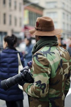 I LOVE THIS! jacket, camera, and hat! i don't dabble in photography anymore but my dad was a professional photographer and this pic reminds me of him back in the 60's and 70's