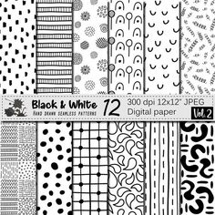 Doodle Patterns 467741111301701425 - Black and White hand drawn seamless digital paper, Trendy monochrome geometric doodle patterns Source by alarameric Doodle Patterns, Zentangle Patterns, White Patterns, Doodle Borders, Zentangles, Digital Texture, Digital Scrapbook Paper, Funny Tattoos, Bullet Journal Ideas Pages