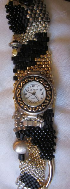 silver, gold and black freeform watch.  pattern 2011 available at bead-patterns.com
