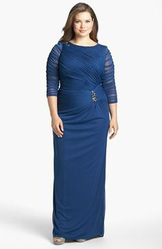 Adrianna Papell Brooch Embellished Ruched Mesh Gown (Plus Size) | Nordstrom