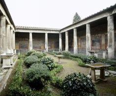 Los jardines de la Antigüedad clásica. Pompeya, jardín de la villa de Vettier, peristilo con jardín replantado bajo criterios arqueológicos y botánicos.