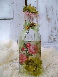 Arte en Botella rosas repollo es mal Estado