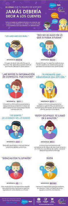 Hola: Una infografía con 8 cosas que atención al cliente (soporte) nunca debe decir. Un saludo