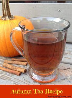 Autumn Tea Recipe - 5 Tea Bags 5 Cups Boiling Water 5 cups unsweetened apple juice 2 cups cranberry juice ½ cup sugar (or more to taste) ⅓ cup lemon juice ¼ tsp pumpkin pie spice A dash of cinnamon
