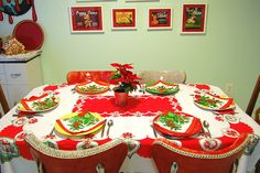 ty whoever pinned this--it is must like the christmas table and even red/chrome chairs at my granny's except table cloth pattern was a little diff