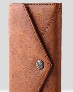 Handmade Leather Mens Cool Long Leather Wallet Bifold Envelope Clutch Wallet for Men Grey Leather, Vintage Leather, Leather Men, Mens Long Leather Wallet, Leather Clutch, Key Wallet, Large Wallet, Envelope Clutch, Clutch Wallet