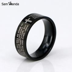 New English The Lord's Prayer Vintage Ring Men / Women Stainless Steel Cross Jewelry Mens Black Jesus Titanium Rings YK3050