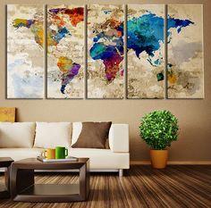 Impresión del arte de la lona de la mapa de mundo, mundo del arte de pared grande mapa arte, impresión de mapa mundo acuarela Extra grande para el hogar y la decoración de la pared de oficina