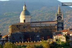 Back of Basilica of Santa Maria Randazzo medieval town Etna slopes