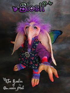 Strange creature- Sloelf (Sloe + elf) Fairy. Poseable doll.