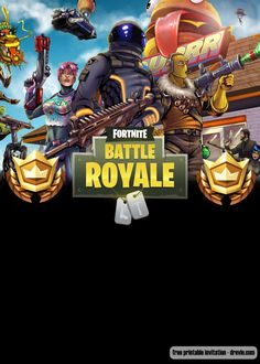 Welcome to Fortnite Battle Royale party! Celebrate your birthday with our free p. Welcome to Fortnite Battle Royale party! Celebrate your birthday with our free printable Fortnite b Free Printable Birthday Invitations, Birthday Card Template, Party Invitations, Free Invitation Templates, Templates Printable Free, Free Printables, Birthday Party Themes, Boy Birthday, Battle