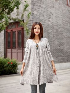 Cotton Blouse Casual loose dress Linen long blouse by Luckywu