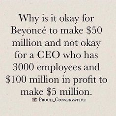 Re-Distribution of wealth -- and why is it ok for Beyonce to not share HER wealth?