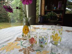 Vintage Set of 3 Handpainted Glasses and by VintageRoseandLace