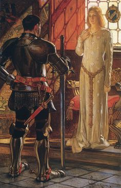 Joseph Christian Leyendecker - Sir John and Lady Sybil Medieval Art, Medieval Fantasy, Medieval Times, Jc Leyendecker, Lady Sybil, Roi Arthur, King Arthur, Armadura Medieval, Knight In Shining Armor