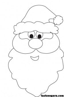 Christmas Santa Face printable coloring pages