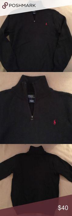 Ralph Lauren Dark Navy Zip Sweater Like new Ralph Lauren zip sweater. Dark navy with red logo. In excellent condition! Polo by Ralph Lauren Shirts & Tops Sweaters