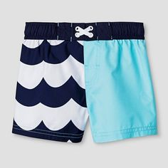 Baby Boys' Wave Print Swim Trunk Cat & Jack™ - Aqua/Navy : Target