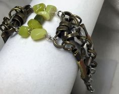 Handmade Genuine Green Jade Stone, Steampunk, Hex Nut Brown Leather, Boho Bracelet by WishboneJewelryCraft on Etsy