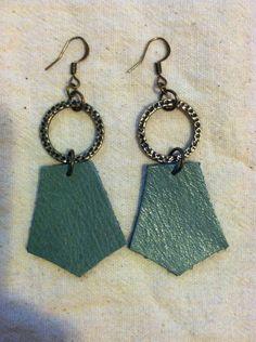Geometric leather earrings on Etsy, $16.00
