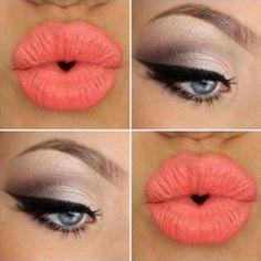 Neutral Eye Makeup - Dramatic Winged Eyeliner - Peach Lips