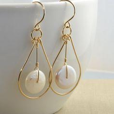 White Coin Pearl Gold Loop Earrings