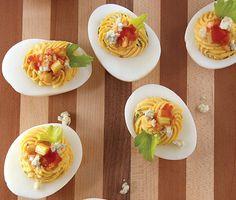 Red-Hot Buffalo Deviled Eggs Recipe at Epicurious.com