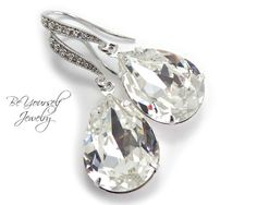Bridal Earrings Sparkly White Crystal by BeYourselfJewelry on Etsy