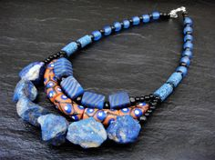 Handmade Multistrand Necklace African Beaded Jewelry by ElPourElle