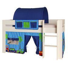 Vorhang 100% Baumwolle Stoff für Hochbett Spielbett Etagenbett Kinderzimmer blau