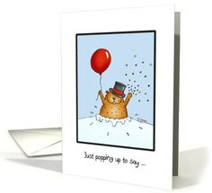 Groundhog Day - Groundhog with Balloon... | Greeting Card Universe by Gerda Steiner