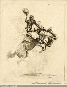 "Bucking Horse by Edward Borein.....Sisters boasts ""the Biggest Little Rodeo in the World"" - come see for yourself! Lots of action (PRCA) Cowboys, Cowgirls and a parade through town!"