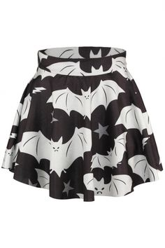 Bat Print Elastic Waist Flared Mini Skirt - Beautifulhalo.com