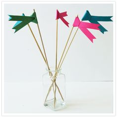 DIY Paper Flag Swizzle Sticks #pink #green @Camille Styles