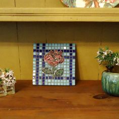 Mosaic Rose Tile, Hot Plate, Trivet, Wall Art by Live In Mosaics
