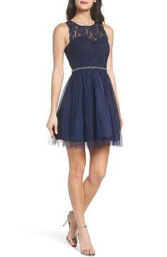 fedcd3b6ed B. Darlin Jewel-Trimmed Mock Neck Fit-And-Flare Dress